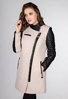 Комбинированное пальто на косой молнии