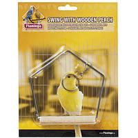 Іграшка для папужок гойдалки Karlie-Flamingo swingwooden perch з дерев'яною жердочкой, 9*12 см