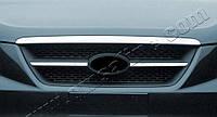 Hyundai Sonata NF 2004-2009 гг. Накладка на решетку радиатора (2 част., нерж)