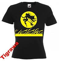 Женская футболка с изображением ведьмы 100% хлопок