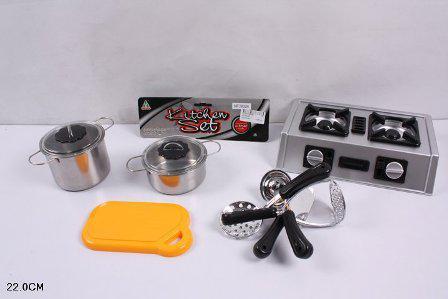 Набор игрушечной детской посуды газовая плита,досточка, 2кастрюли