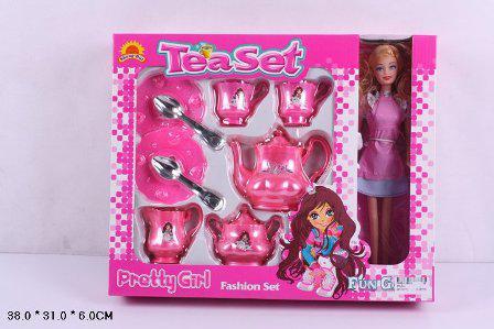 Кукла Барби с посудой чайник, чашки, блюдца, ложки, сахарница