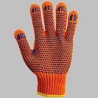 Перчаткии трикотажные с ПВХ точкой х/б оранжевые