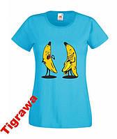 Женская футболка с изображением бананов 100%хлопок