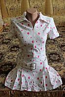 Красивое белое платье в горох для девочки б/у р.S