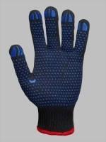 Перчатки с ПВХ точкой черные (синии)
