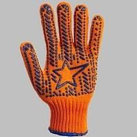 Перчатка с ПВХ Звезда оранж./син. пластизоль