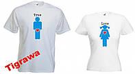 Парные футболки для влюбленных с печатью True Love