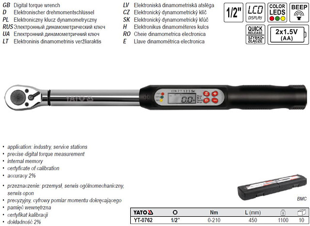 Электронный динамометрический ключ Yato YT-0762