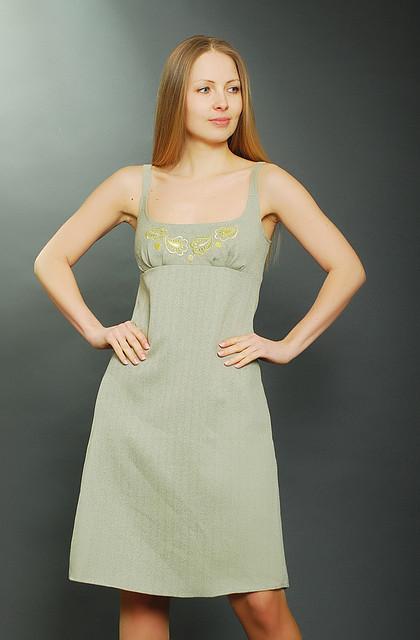 Сарафан женский ПЛ 005-1 твидовый олива с вышивкой