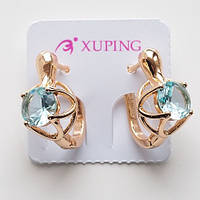 Серьги ажур с  бледно голубым камнем Xuping  английский  замок