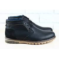 Ботинки мужские кожаные натуральная кожа и нубук зимние на меху на шнурках