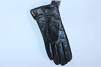 Кожаные черные женские перчатки