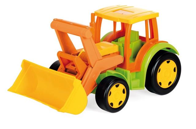 трактор гигант, игрушка для мальчика, выдерживает вес до 100 кг, имеет подвижный ковш