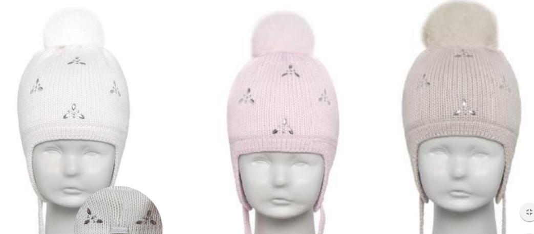 Осенняя польская шапка для маленькой девочки Barbaras с натуральным мехом  р-ры 42-44 e7585252cc2a5
