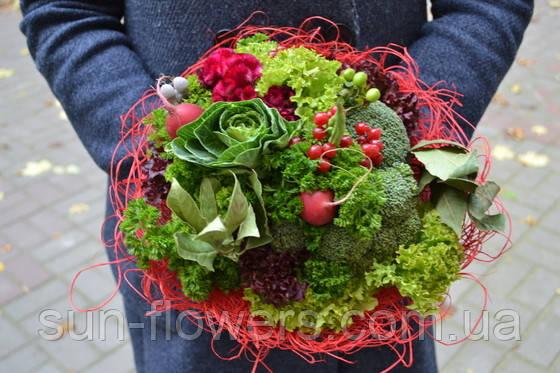 Веган-букет салат,брокколи,редис,зелень(по Запорожью)