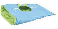 Игровой мешок для кота (ткань/плюш) 50х38см,синий/зелёный