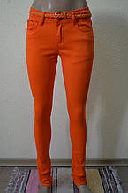 Цветные женские брюки оранжевые 100
