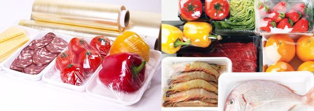 Упаковка продуктов для супермаркетов с использованием стрейча