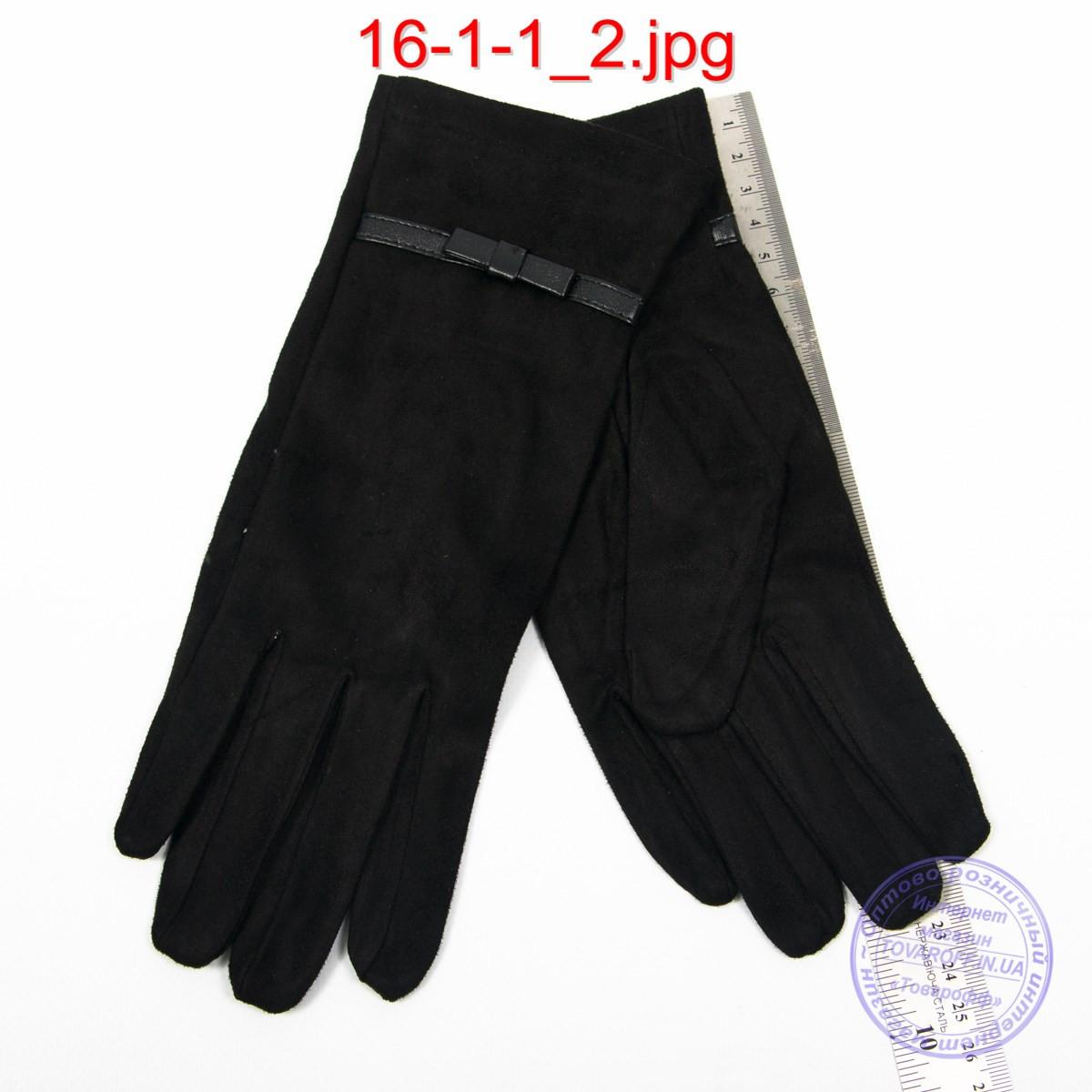 Женские велюровые перчатки без подкладки - №16-1-1