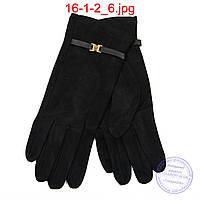 Женские велюровые перчатки с плюшевым утеплителем - №16-1-2, фото 1