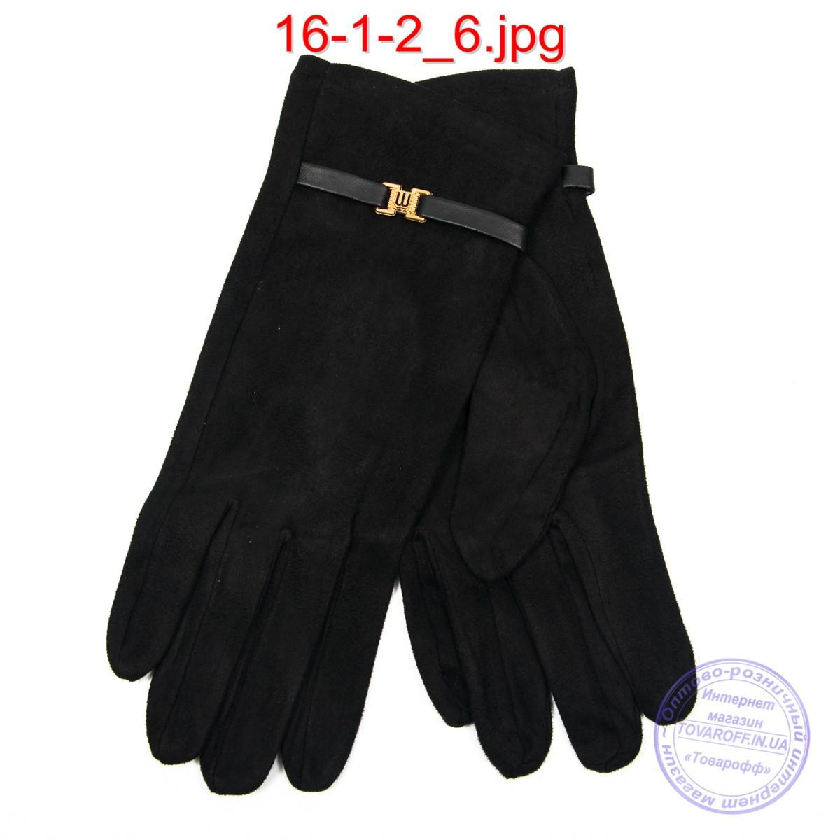 Женские велюровые перчатки с плюшевым утеплителем - №16-1-2