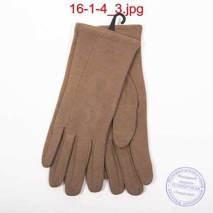 Женские трикотажные перчатки с плюшевым утеплителем - №16-1-4, фото 3