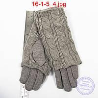 Женские серые трикотажные перчатки с плюшевым утеплителем и вязаной накидкой - №16-1-5