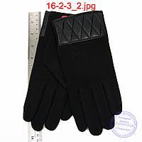 Мужские трикотажные перчатки с плюшевой подкладкой - №16-2-3, фото 1