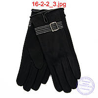 Женские трикотажно-велюровые перчатки с плюшевой подкладкой - №16-2-2, фото 1