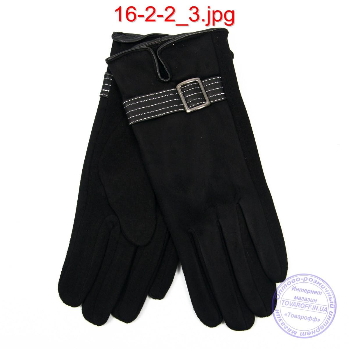 Женские трикотажно-велюровые перчатки с плюшевой подкладкой - №16-2-2