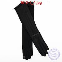 Длинные велюрово-трикотажные перчатки с плюшевым утеплителем и сенсорными пальчиками 45см - №16-2-1, фото 1