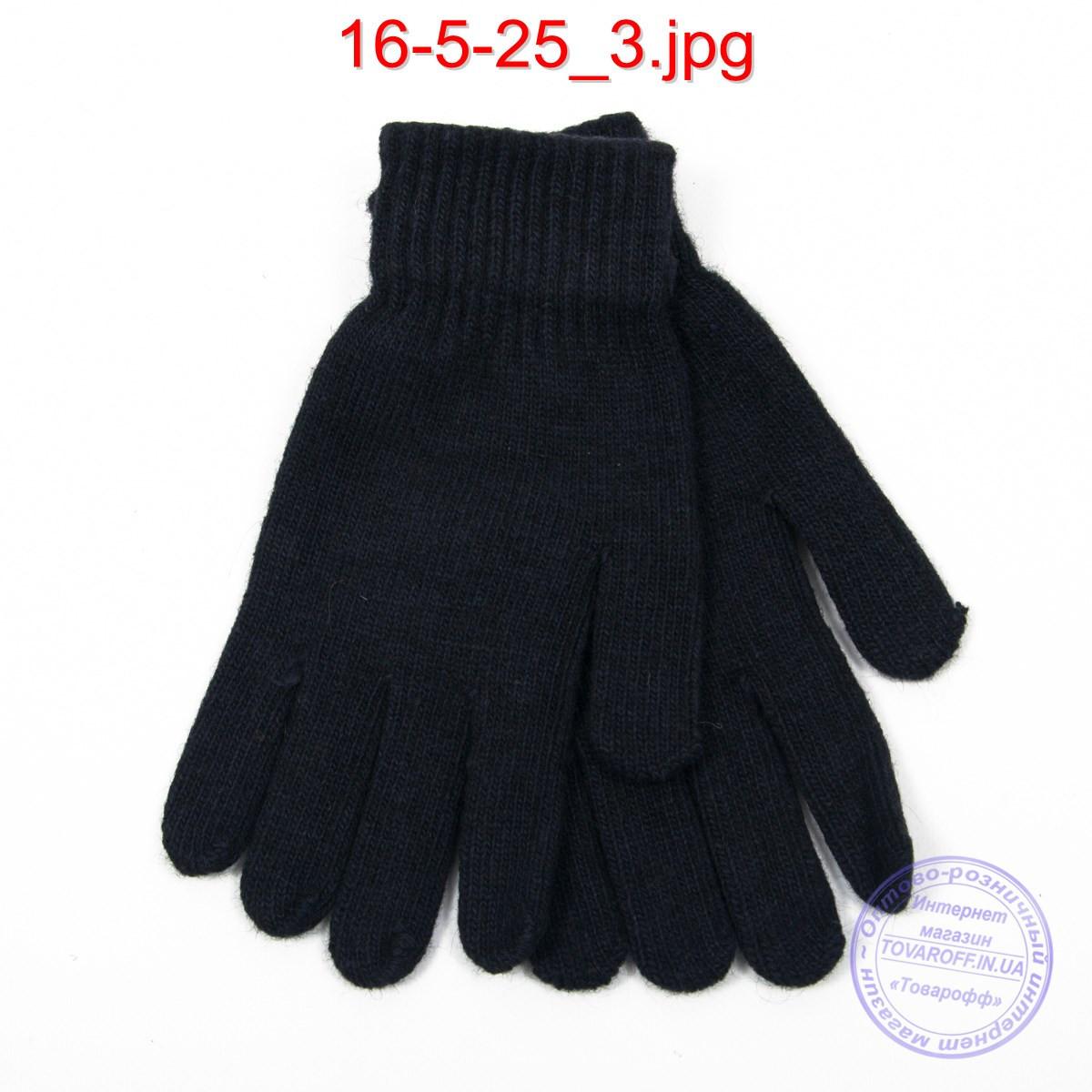 Вязаные мужские ангоровые перчатки - №16-5-25