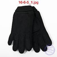 Мужские велюрово-трикотажные перчатки черные - №16-6-5