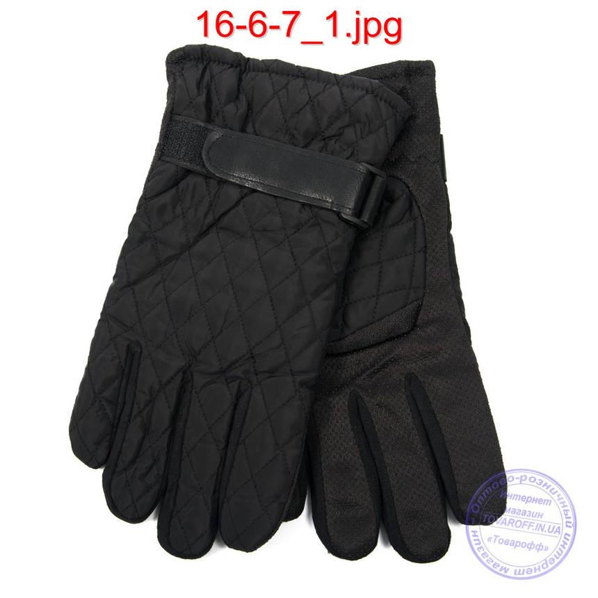 Мужские болоньевые перчатки с противоскользящей ладошкой - №16-6-7, фото 2