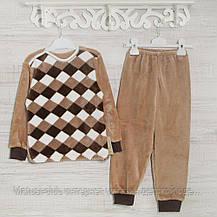 ТЕПЛЫЕ детские пижамы 1-3-5лет, 1121KAYмахровые -вельсофт, в наличии 92,104,116  Рост, фото 3