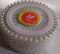 Булавки портновские с белым шариком (40 шт в упак)