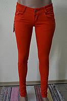 Цветные женские брюки оранжевые 006-08