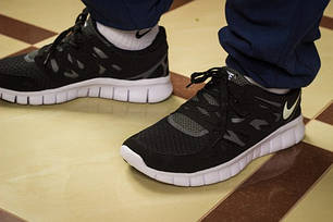 Кроссовки мужские Nike Free Run 2.0 черно-белые топ реплика, фото 2
