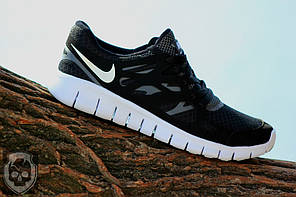 Кроссовки мужские Nike Free Run 2.0 черно-белые топ реплика, фото 3