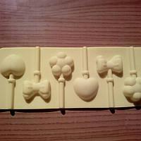 Форма силиконовая для конфет на палочке Сердце, Бантик и Цветок