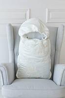 Зимний нарядный конверт-одеяло, белый со стразами