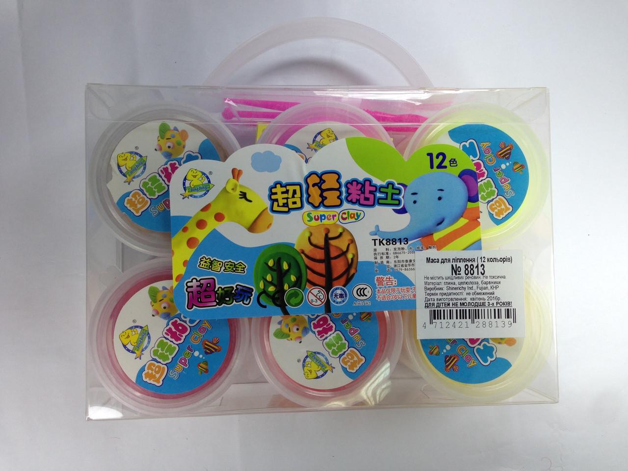 Масса для лепки самозастывающая 12 цветов набор Super Clay творческий набор