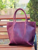 Женская кожаная сумка Shopper фиолетовая
