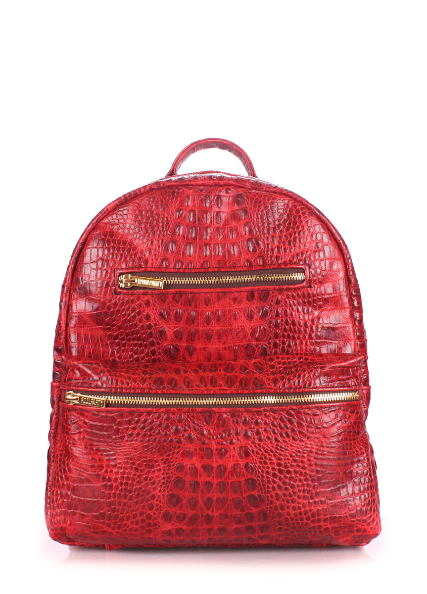 Рюкзак женский кожаный POOLPARTY Mini Bckpck Leather Croco Red