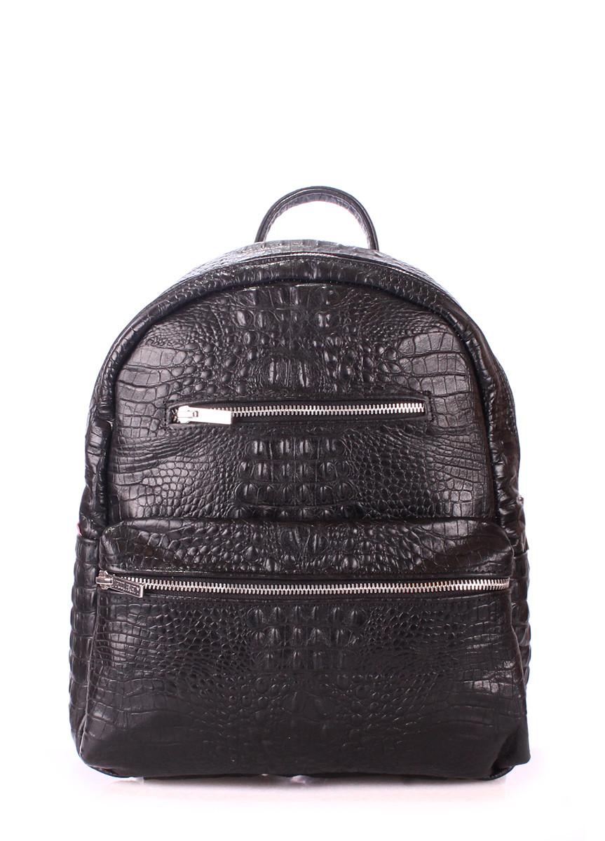 Рюкзак женский кожаный POOLPARTY Mini Bckpck Leather Croco Black