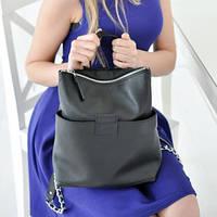 Женская кожаная сумка-рюкзак K-2 black черная