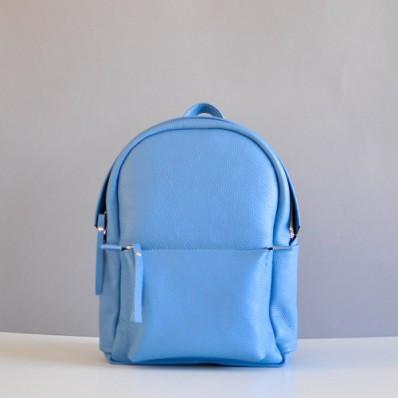 Женский кожаный рюкзак Carbon Sky Soft Back голубой