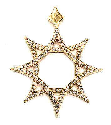 Золотой кулон подвеска Восьмиконечная звезда