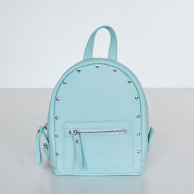 Женский кожаный рюкзак Baby Sport Aqua голубой